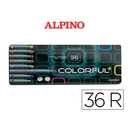 Rotuladores Alpino Colorful punta media y gruesa lavable caja 36 unidades