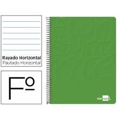 Cuaderno espiral liderpapel write folio tapa blanda 80h 60gr horizontal con margen color verde