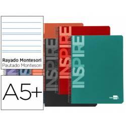 Cuaderno espiral liderpapel inspire cuarto tapa dura 80 hojas 60gr/m2 rayado Montessori 5mm (NO SE PUEDE ELEGIR COLOR)
