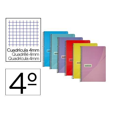 Cuaderno espiral papercop cuarto tapa plástico 80 hojas de 90gr/m2 cuadriculado 4mm con margen (NO SE PUEDE ELEGIR COLOR)