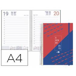 Agenda 2019 Espiral Tinos Dia pagina Din A4 Rojo personalizable Liderpapel