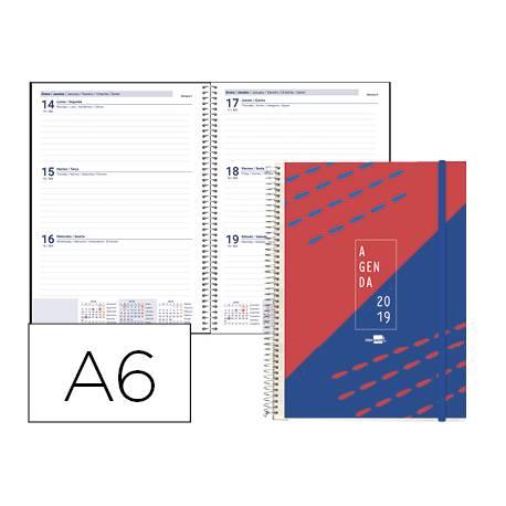 Agenda 2019 Espiral Tinos Semana vista DIN A6 Rojo personalizable Liderpapel