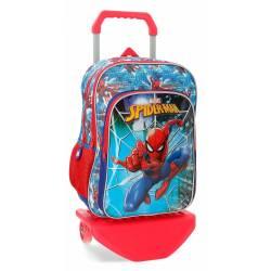 Mochila Escolar Spiderman 40x30x13 cm de Poliester Street Con carro Doble compartimento