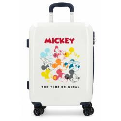 Maleta de cabina rígida Mickey Magic caras beige 55x40x20cm