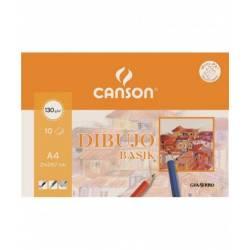 Papel dibujo Canson A4 130 g/m2 Minipack 10 hojas
