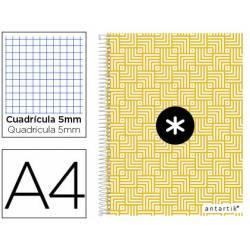 Cuaderno espiral Antartik Din A4 Tapa forrada 100g/m2 Amarillo