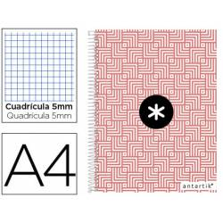Cuaderno espiral Antartik Din A4 Tapa forrada 100g/m2 Coral