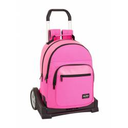 CARTERA ESCOLAR SAFTA CON CARRO BLACKFIT8 LISO PINK 320X420X150 MM