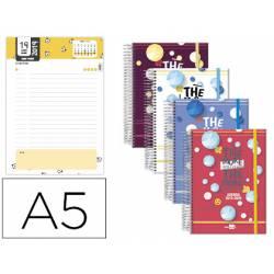 Agenda Escolar 19-20 Liderpapel Classic DIN A5 Un dia pagina Espiral Tetralingue Cierre con goma Colores Surtidos