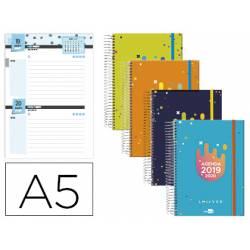 Agenda Escolar 19-20 Dos dia pagina DIN A5 con Espiral Bilingüe Liderpapel College Date No se puede elegir color