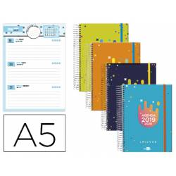 Agenda Escolar 19-20 Semana vista DIN A5 con Espiral Bilingüe Liderpapel College Date No se puede elegir color
