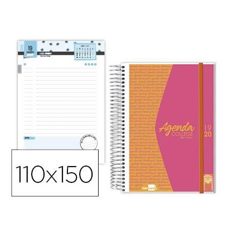 Agenda Escolar 19-20 Dia pagina Mini con Espiral Bilingüe Liderpapel College Personalizable