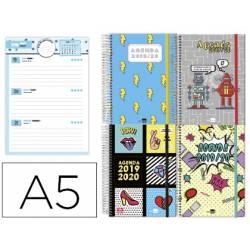 Agenda Escolar 19-20 Dia pagina DIN A5 con Espiral Bilingüe Liderpapel Fantasia Pop Art No se puede elegir modelo