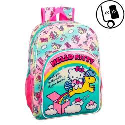 Mochila Escolar Hello Kitty 42x33x14 cm Poliester Candy Unicorns Adaptable a carro