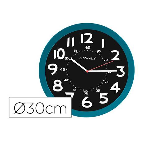 RELOJ Q-CONNECT DE PARED PLASTICO OFICINA REDONDO 30 CM COLOR AZUL Y ESFERA COLOR NEGRO