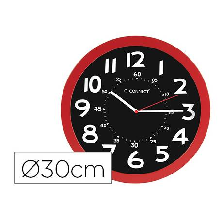 RELOJ Q-CONNECT DE PARED PLASTICO OFICINA REDONDO 30 CM COLOR ROJO Y ESFERA COLOR NEGRO