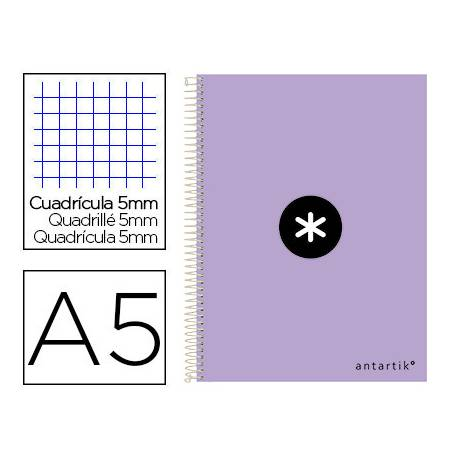 Cuaderno espiral Antartik Din A5 Tapa dura 100g/m2 Lila