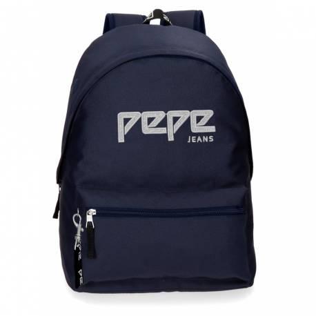Mochila Escolar Pepe Jeans 42x31x17,5 Cm de poliester Uma azul marino adaptable a carro