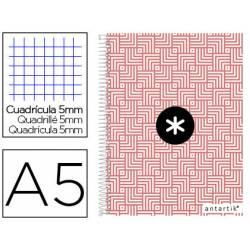 Cuaderno espiral Antartik DIN A5 Cuadricula 5mm Tapa fortrada 100g/m2 Coral