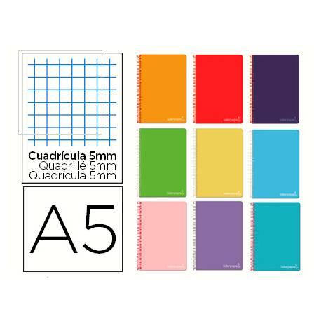 Cuaderno espiral Liderpapel Micro Witty Din A5 Tapa dura Cuadricula 5mm 75 g/m2 5 bandas 6 taladros Colores surtidos