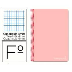 Cuaderno espiral Liderpapel Witty Tamaño Folio Tapa dura Cuadricula 4mm 75 g/m2 Rosa Con margen