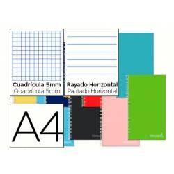 Cuaderno espiral Liderpapel Micro Jolly Tamaño DIN A4 Tapa forrada Cuadricula 5mm + Rayado Horizontal 75 g/m2 Colores surtidos
