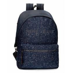 Mochila Pepe Jeans 31x42x17,5 cm para portátil adaptable azul de poliéster.