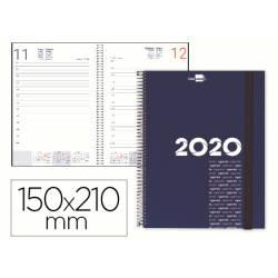 Agenda 2020 Espiral Olbia Dia pagina Din A5 color Azul metalizado Liderpapel