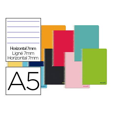 Cuaderno espiral Liderpapel Smart Tamaño DIN A5 80H Tapa blanda Rayado horizontal 60 g Doble margen 4 taladros Colores surtidos