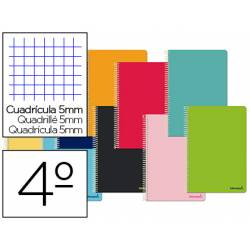 Cuaderno espiral Liderpapel Smart Tamaño cuarto 80 hojas Tapa blanda Cuadricula 5 mm 60 g/m2 Con margen Colores surtidos