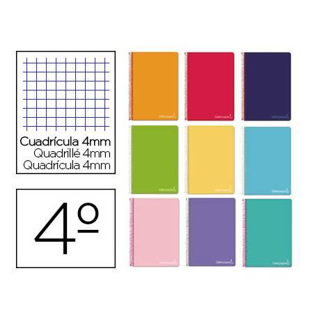Cuaderno espiral Liderpapel Witty Tamaño cuarto Tapa dura Cuadricula 4 mm 75 g/m2 Con margen Colores surtidos