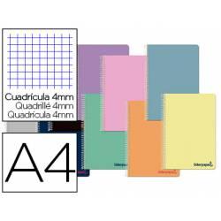 Cuaderno espiral Liderpapel DIN A4 Tapa plástico Cuadricula 4 mm 80H 90 g/m2 Con margen Colores surtidos (no se puede elegir)