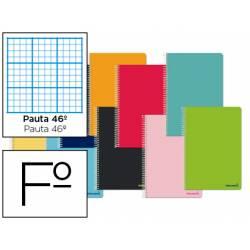 Cuaderno espiral Liderpapel tapa extradura tamaño folio 80 hojas pauta 46º Pack de 10 colores surtidos