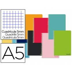 Cuaderno espiral Liderpapel Smart Tamaño DIN A5 Tapa blanda Cuadricula 5 mm 60 g/m2 Con margen Colores surtidos