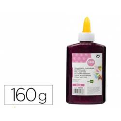 Pegamento purpurina Liderpapel Fantasia color Violeta metalizado Bote 160gr