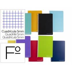 Cuaderno espiral Liderpapel Witty Tamaño folio Tapa dura Cuadro 5 mm 75 g/m2 Con margen Colores surtidos