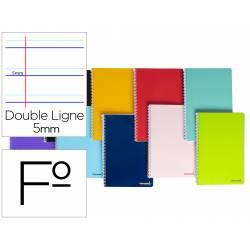 Cuaderno espiral Liderpapel Rayado montessori folio.Tapa blanda 80h 60gr 5mm y margen Colores surtidos.No se puede elegir