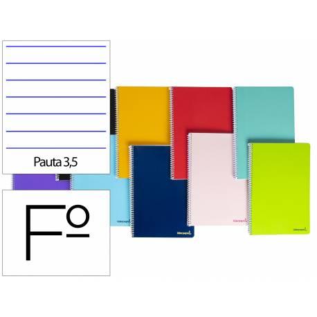 Cuaderno espiral Liderpapel Rayado montessori folio smart Tapa blanda 80h 60gr pauta 3,5mm Con margen Colores surtidos