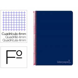 Cuaderno espiral Liderpapel Witty Tamaño folio tapa dura Cuadro 4mm 75g/m2 Con margen Azul Marino