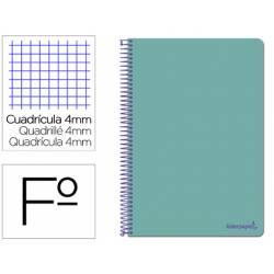 Cuaderno espiral Liderpapel folio smart Tapa blanda 80h 60gr cuadro 4mm con margen Color turquesa