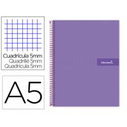 Bloc liderpapel Din A5 micro crafty cuadrícula 5mm tapa forrada 90 gr color violeta