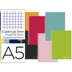 """Bloc Liderpapel DIN A5 micro jolly cuadro 5mm 5 bandas 6 taladros tapa forrada 75 gr color """"no se puede elegir"""""""