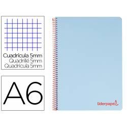 Bloc Liderpapel DIN A6 micro wonder cuadro cuadro 5mm 4 bandas tapa plástio 90 gr color azul