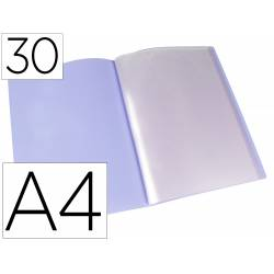 Carpeta escaparate Liderpapel DIN A4 poliporpileno con 30 fundas color violeta