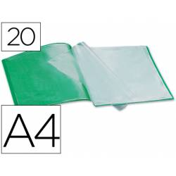 Carpeta escaparate Liderpapel DIN A4 poliporpileno con 20 fundas color verde