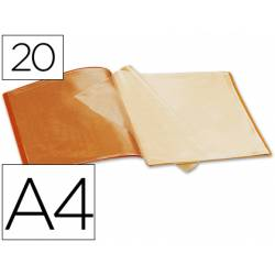 Carpeta escaparate Liderpapel DIN A4 poliporpileno con 20 fundas color naranja