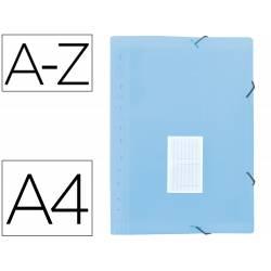 Carpeta clasificadora fuelle Liderpapel DIN A4 poliporpileno 13 departamentos color azul