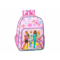 CARTERA ESCOLAR SAFTA BARBIE DREAMER MOCHILA ADAPTABLE A CARRO 330X140X420 MM