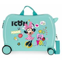 Maleta infantil 2 ruedas multidireccionales Enjoy Minnie icon turquesa