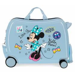 Maleta infantil 2 ruedas multidireccionales Enjoy Minnie Hi love Azul